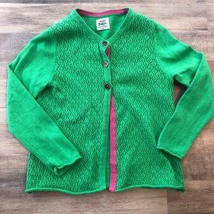 MINI BODEN 3-4 year green cardigan sweater